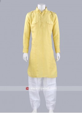 Linen Yellow Pathani Suit