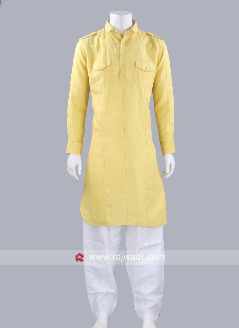 Linen Yellow Pathani Suit