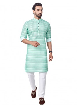 Strips Print Kurta Pajama In Sea Green Color