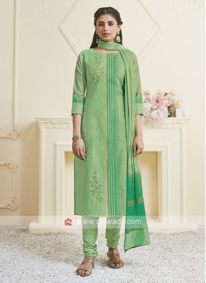 Shagufta Liril Green Color Churidar Salwar Suit