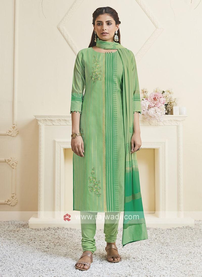 Shagufta Liril Green Color Churidar Salwar Suit