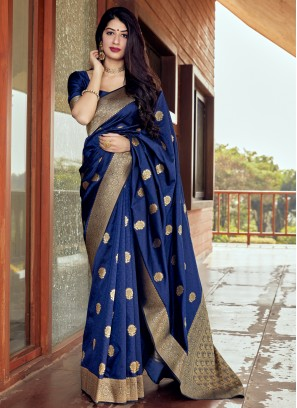 Lively Blue Woven Traditional Designer Saree