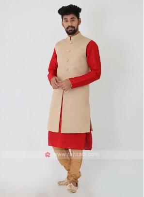 Long Beige Color Nehru Jacket Set