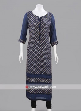 Long Dark Navy Blue Crepe Kurti