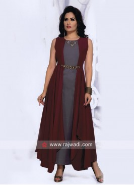 Long Jacket Style Kurti with Diamond Work
