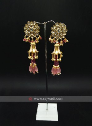 Long Kundan Work Earring