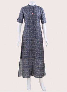 Long Printed Kurti with Sleeves
