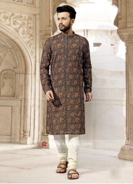 Long Sleeve Art Silk Fabric Kurta Set
