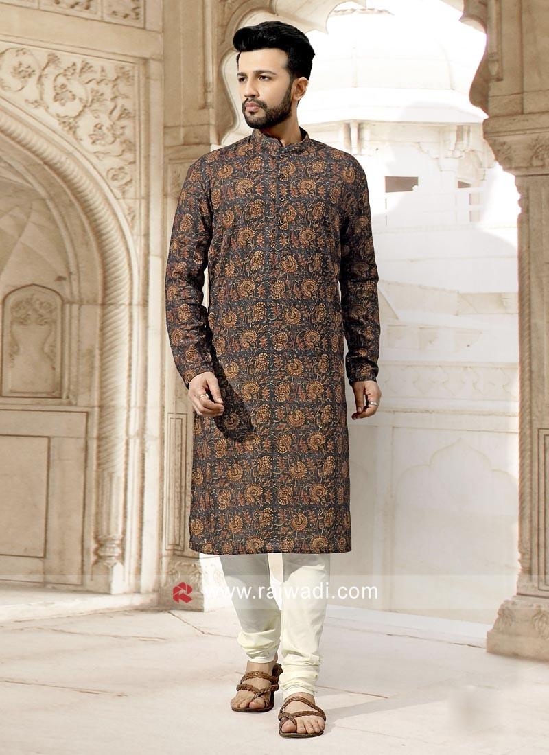 Long Sleeve Art Silk Fabric Kurta Set