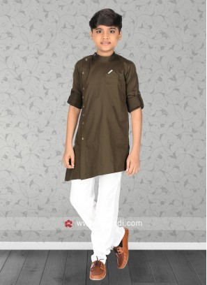 Long Sleeve Coffee Pathani
