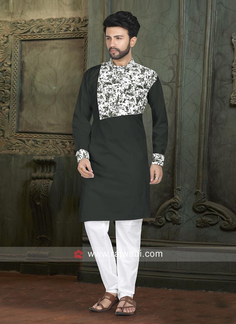 Long Sleeve Bottle Green Color Pathani Suit