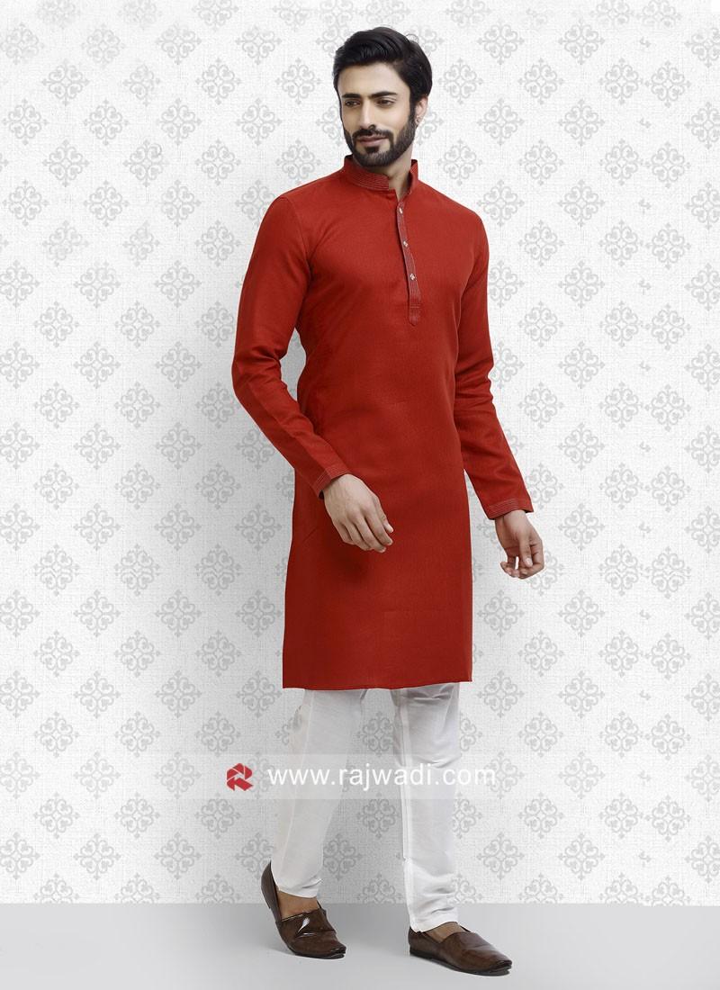 Long Sleeve Cotton Red Kurta Pajama