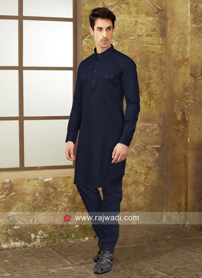 Long Sleeve Cotton Silk Pathani Set
