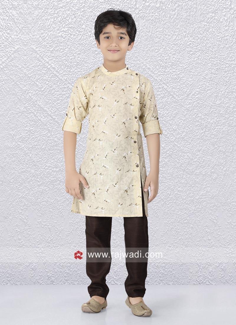 Long Sleeve Cream Color Kurta Pajama Set