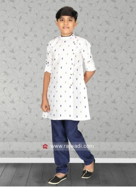 Long Sleeve White Color Kurta Pajama Set