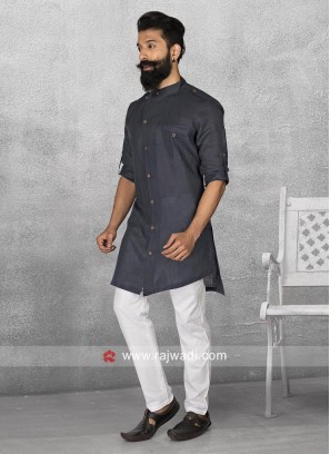 Long Sleeve Navy Color Pathani Suit