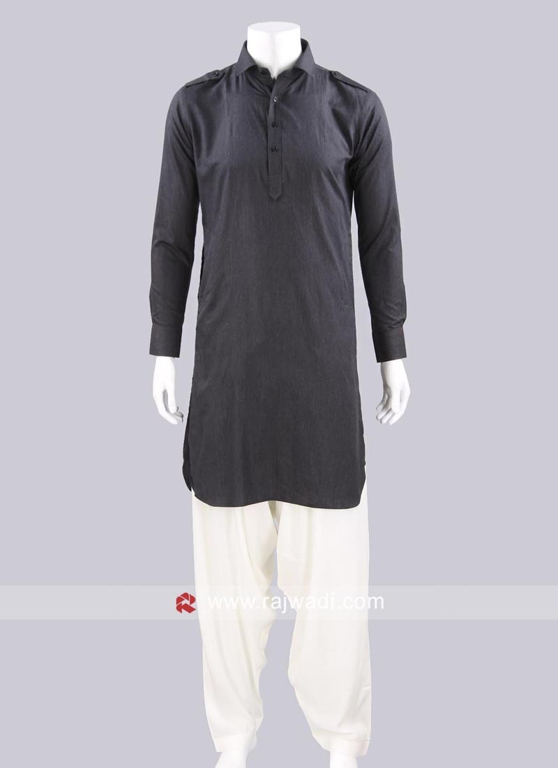 Long Sleeve Grey Color Pathani Suit