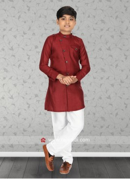 Long Sleeve Kurta Pajama In Maroon
