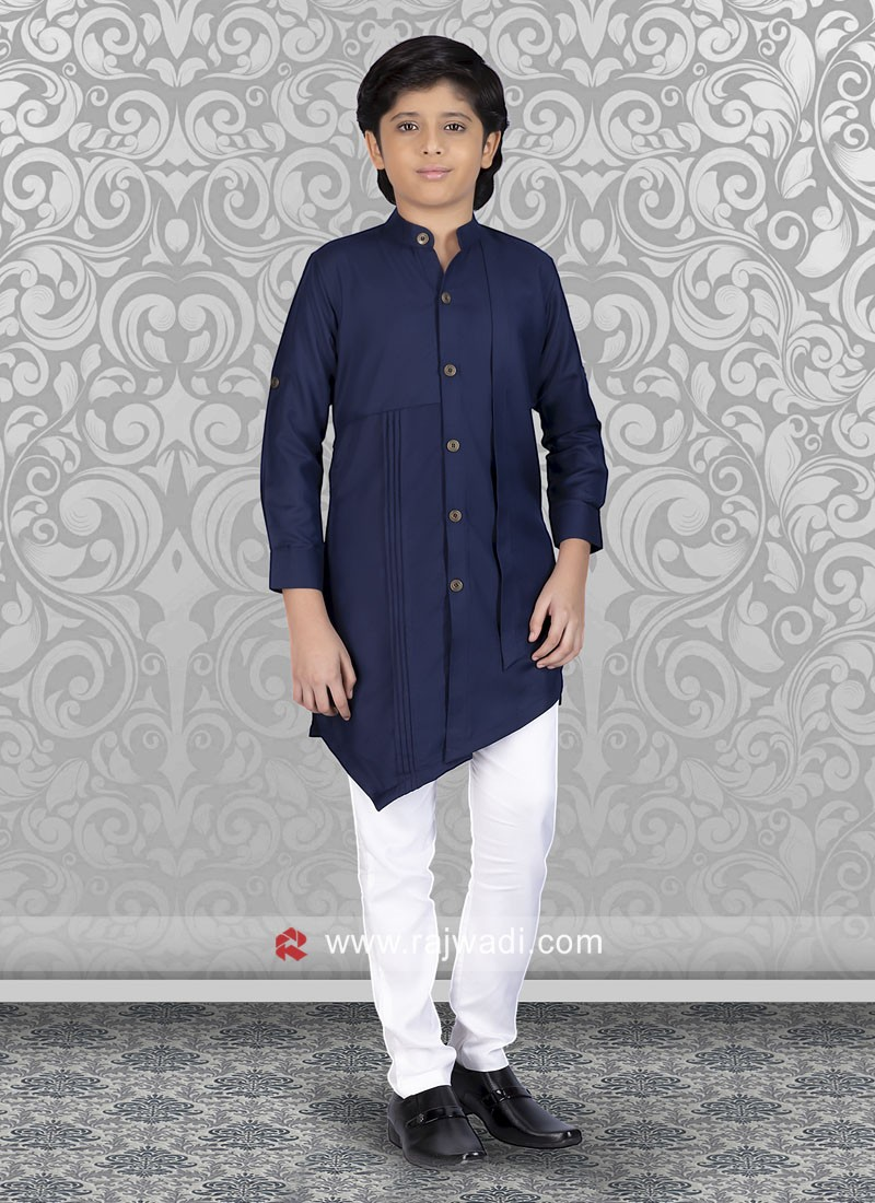 Long Sleeve Kurta Pajama In Blue