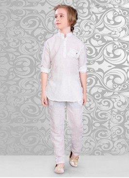 Long Sleeve Kurta Pajama In White Color
