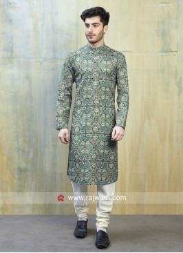 Long Sleeve Green Kurta Pajama