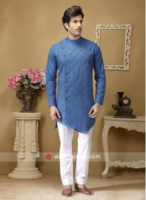 Long Sleeve Linen Pathani Set
