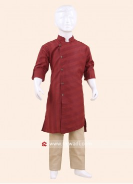 Long Sleeve Maroon Pathani