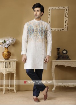Long Sleeve Off White Kurta Set