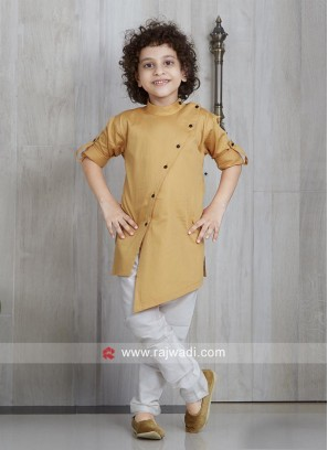 Long Sleeve Pathani Suit in Golden yellow