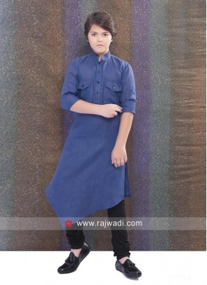Long Sleeve Pathani Suit in Royal Blue