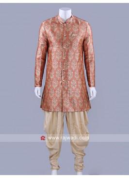 Long Sleeve Peach Color Patiala Suit