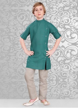 Long Sleeve Peacock Blue Kurta Pajama