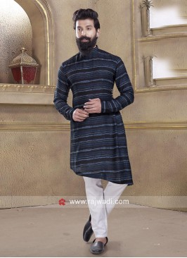 Long Sleeve Blue Pathani Suit
