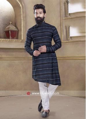 Long Sleeve Blue Pathani Suit