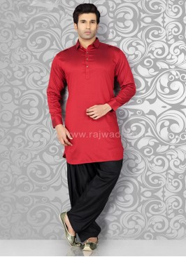 Long Sleeve Red Pathani Suit