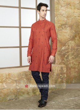 Long Sleeve Rust Color kurta Set