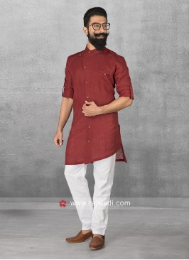Long Sleeve Linen Fabric Red Pathani Set