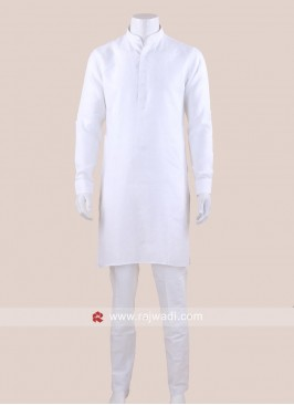Long Sleeve White Color kurta Set