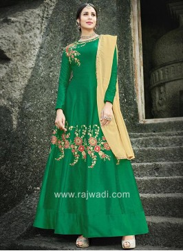 Long Sleeves Dark Green Anarkali with Dupatta