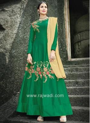 Long Sleeves Dark Green Anarkali with Dupatta