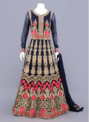 Long Sleeves Embellished Anarkali Dress in Dark Navy Blue