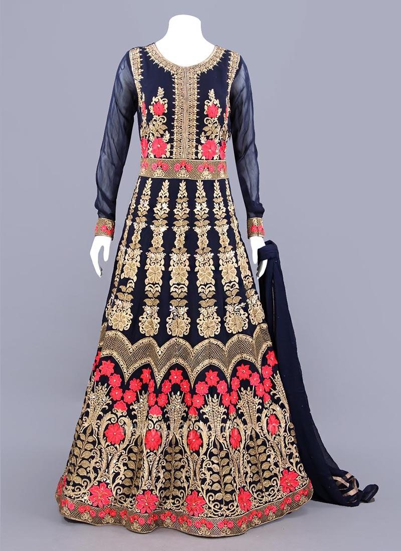 Long Sleeves Embellished Anarkali Dress in Dark Navy Blue