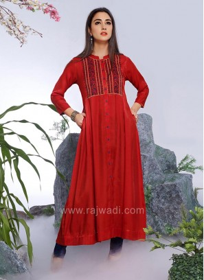 Long Thread Work Kurti in Red