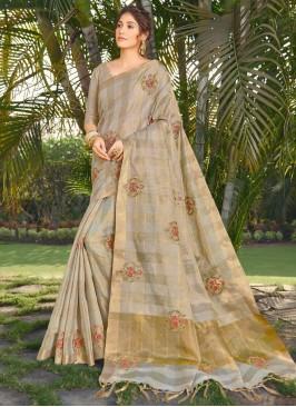 Lovable Beige Embroidered Silk Traditional Designer Saree