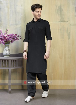Lovable Black Pathani Suit