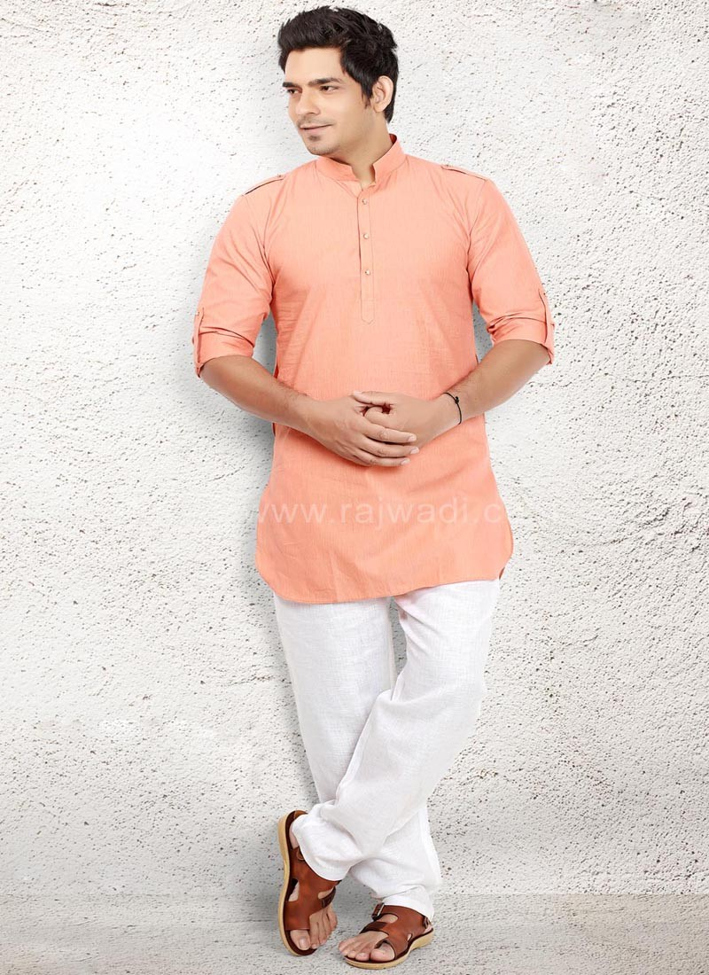 Lovable Peach coloured Pathani Suit