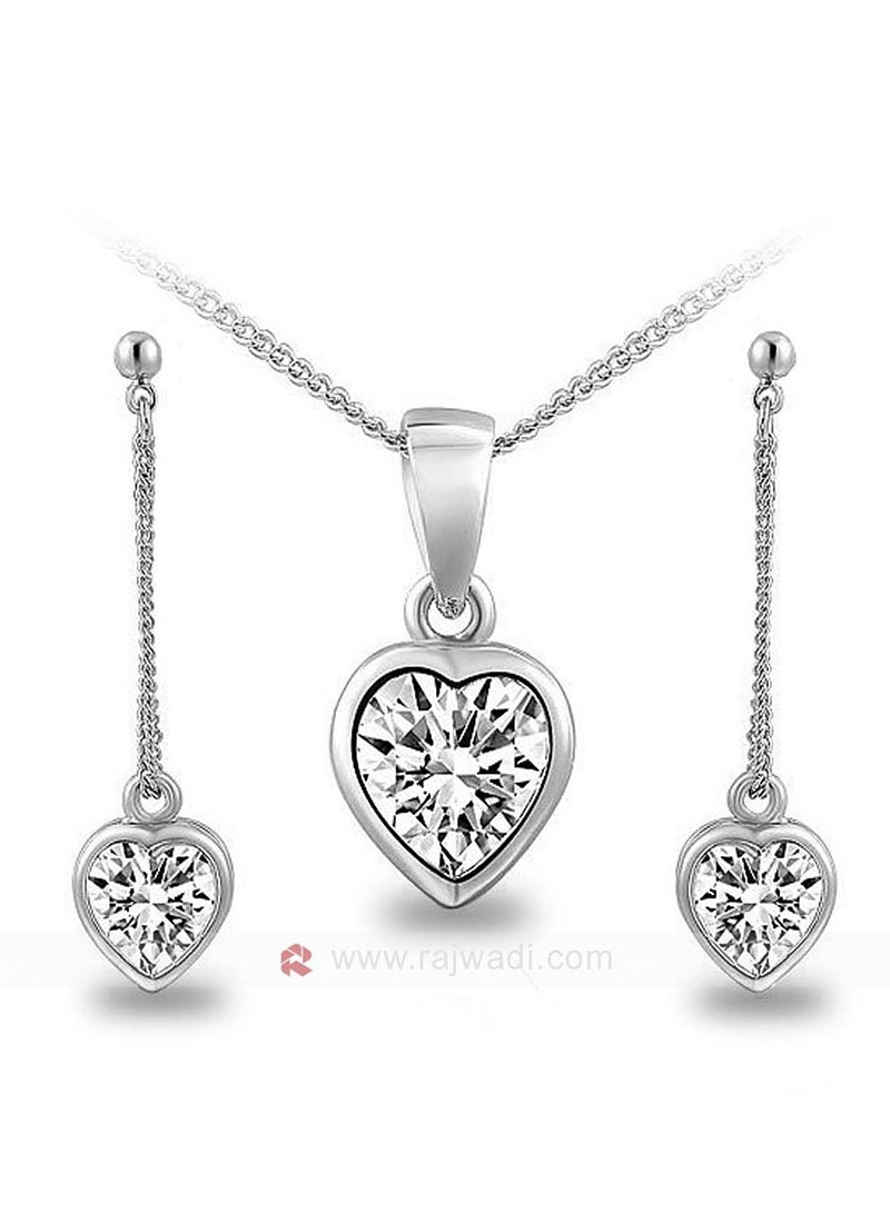 Love Struck Zircon Heart Pendant Set