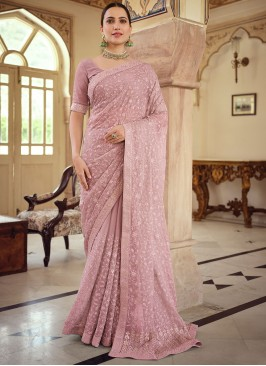 Lovely Faux Chiffon Mauve  Embroidered Classic Saree