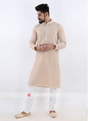 Lucknowi Beige & White Kurta Pajama
