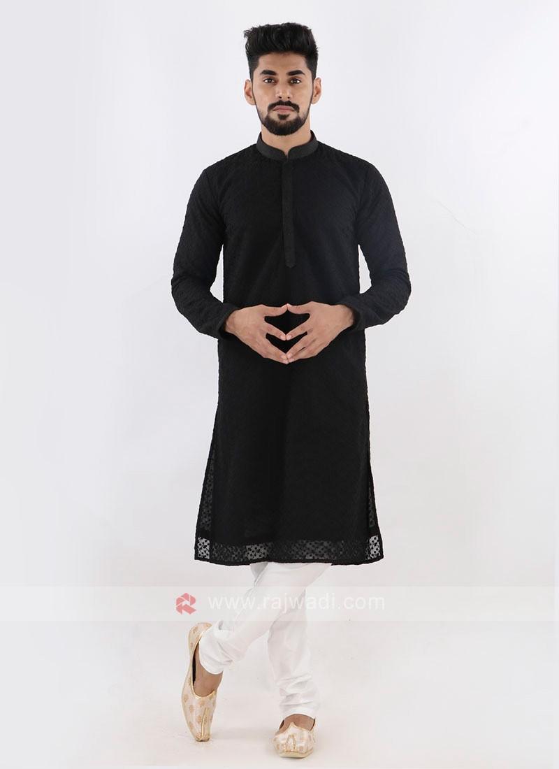Lucknowi Black & White Kurta Pajama